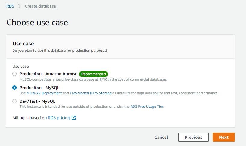 Setting up Amazon RDS (optional)